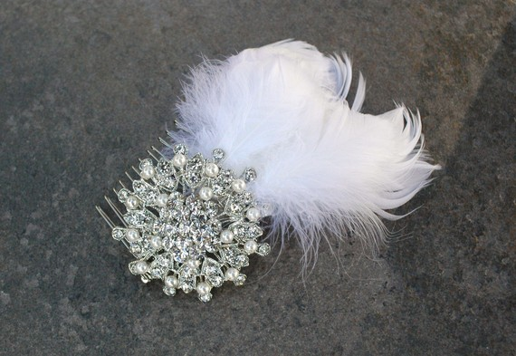 feather rhinestone hair comb