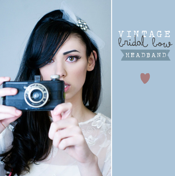vintage bridal bow headband