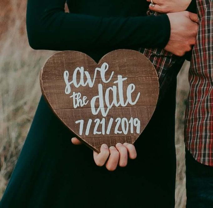 save the date sign for dog