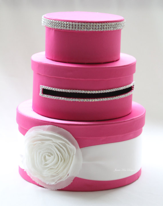 hot pink wedding card box
