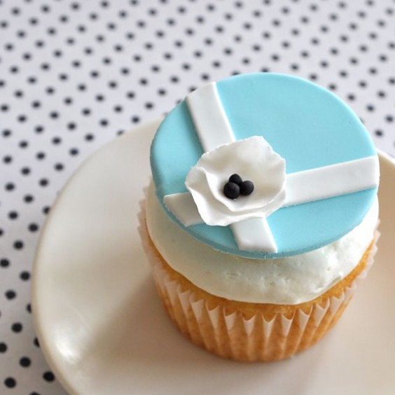 tiffany blue flower girl cupcake