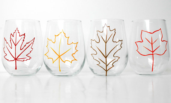 fall wedding glassware