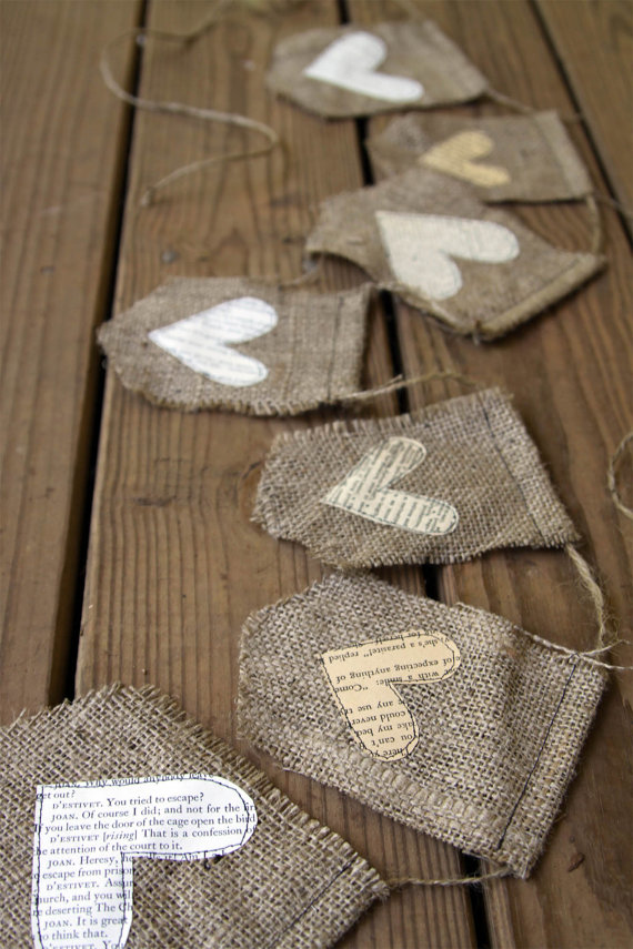 burlap wedding banner with hearts