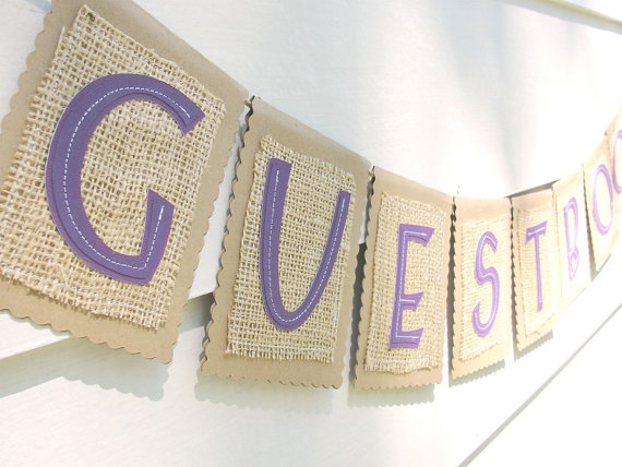 guest book wedding burlap banner