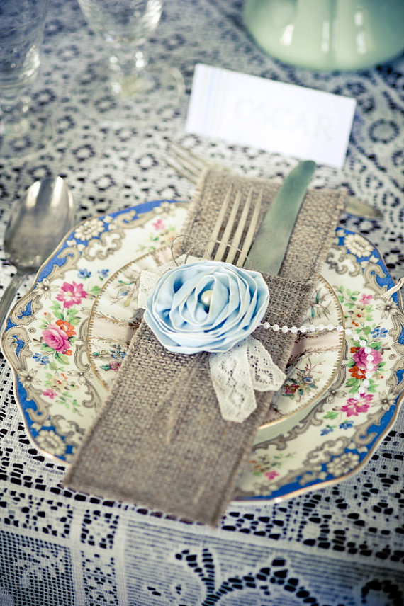 burlap wedding cutlery container