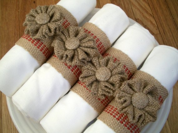 burlap wedding napkin rings