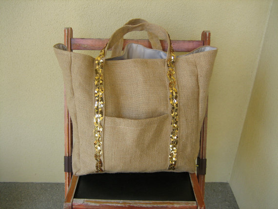 burlap wedding tote bag with sequins