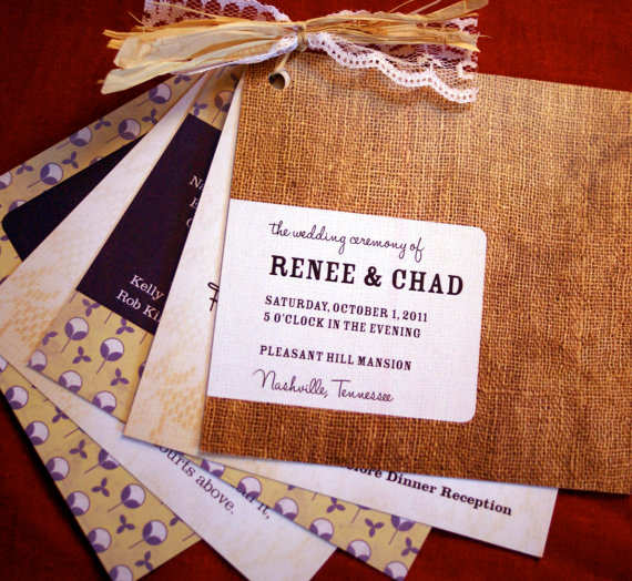 burlap wedding program