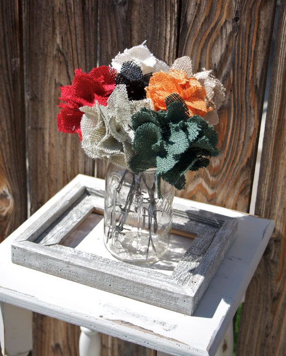 burlap wedding flowers