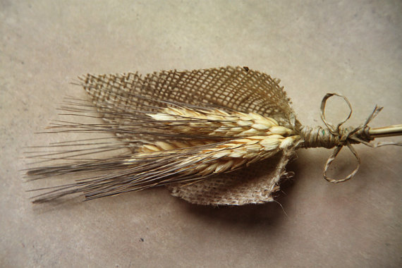 wheat burlap wedding boutonniere