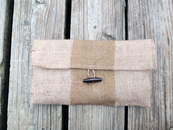 burlap clutch purse