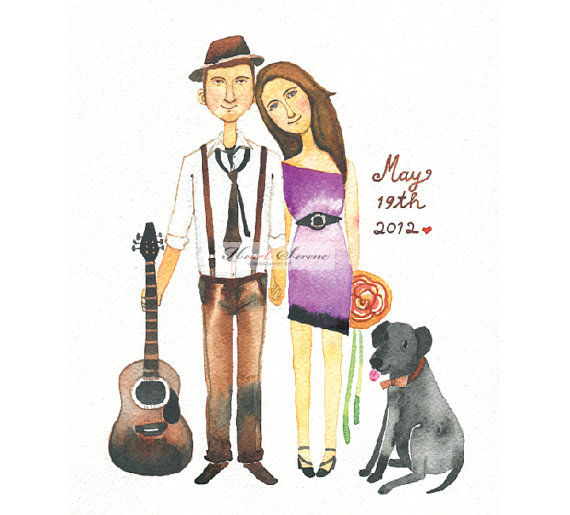 watercolor custom couple artwork