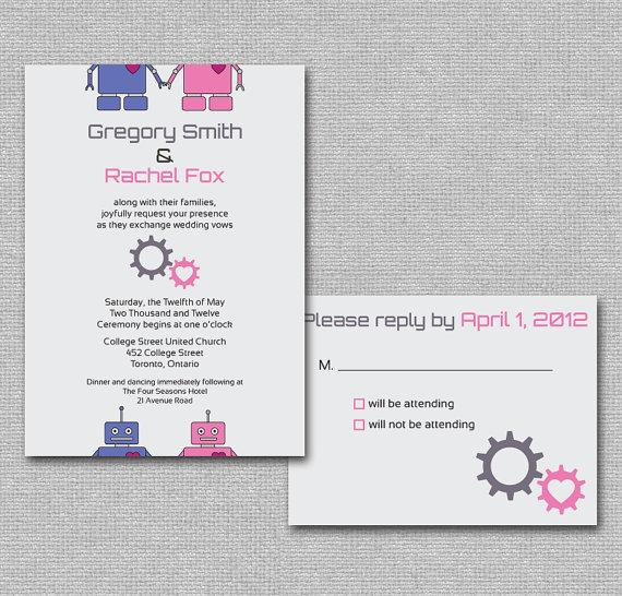 robot themed wedding invitations