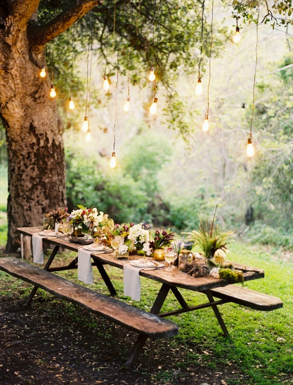 wedding seating reception in the woods