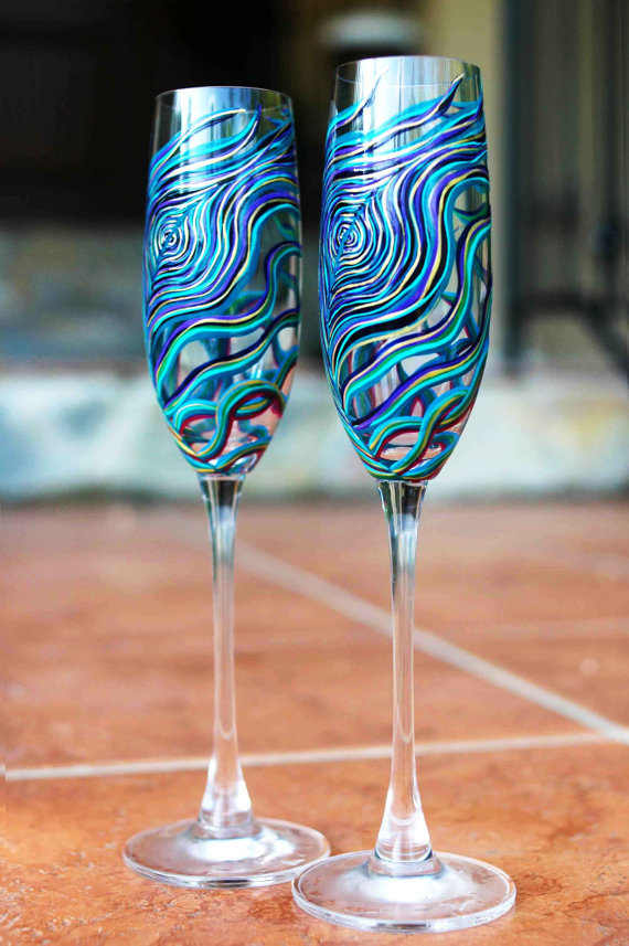 peacock wedding glassware