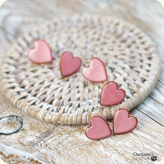 pink heart earrings