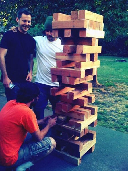 How to Entertain Guests at a Wedding - lawn jenga!