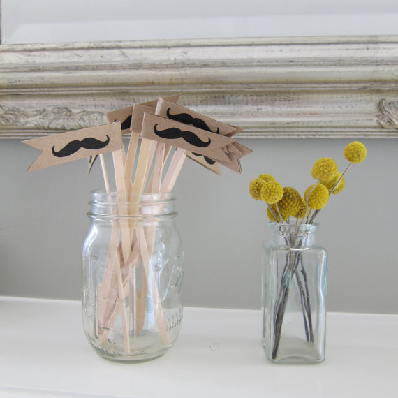 kraft paper drink stirrers with mustaches