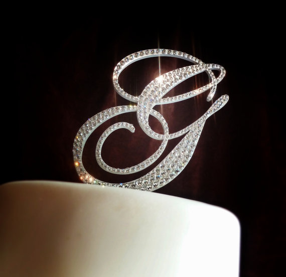 crystal monogram cake toppers