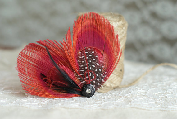 peacock feather hair pins