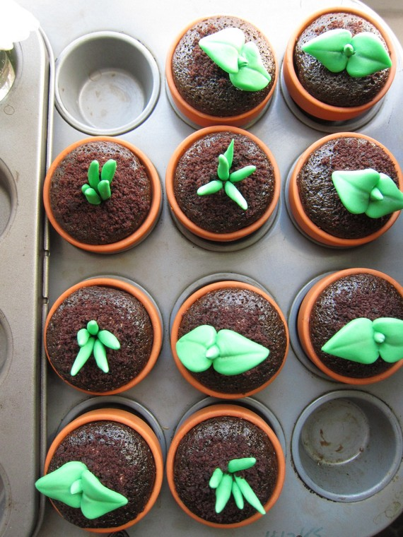 diy sprout cupcakes