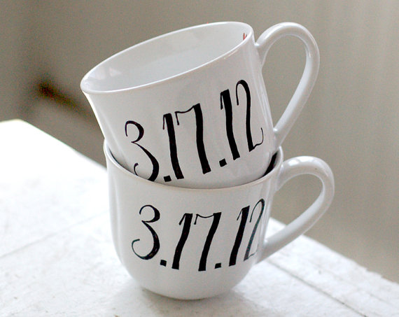 coffee mugs with initials and date