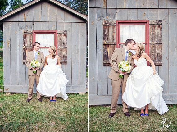 diy wedding shoes - bride with blue heels