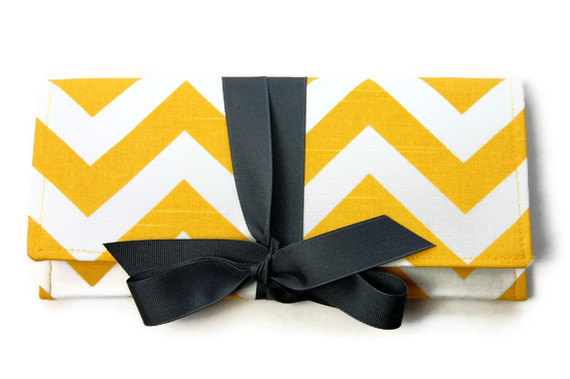 chevron clutch purse yellow and gray