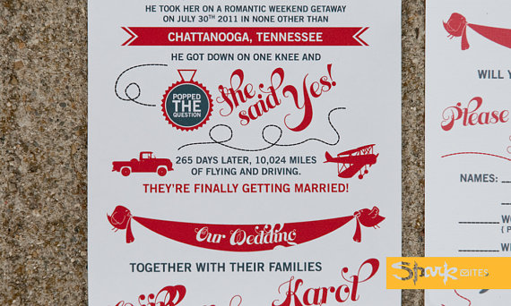 wedding invitation love story by sparkvites