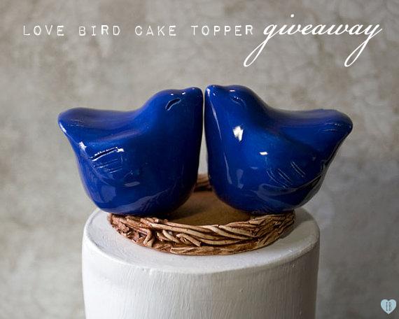 wedding cake topper - blue love birds