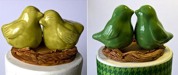 wedding cake topper - green love birds