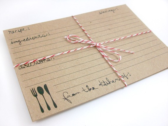 bridal shower recipe cards