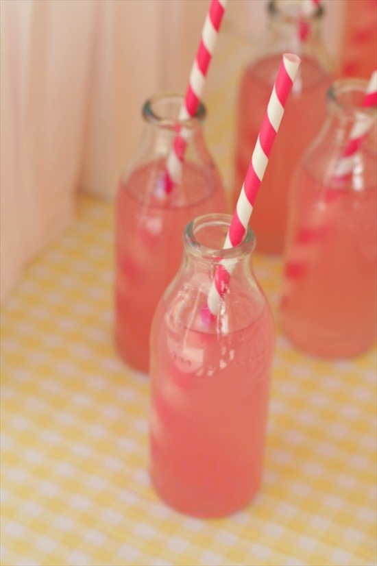 handmade wedding cocktail with hot pink striped straw