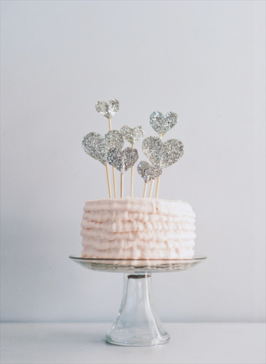 handmade wedding cake topper with glitter and hearts