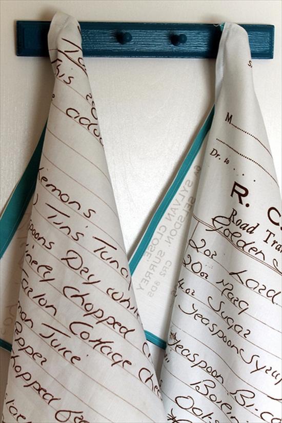 handmade wedding - diy recipes on tea towels