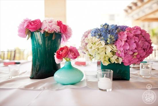 handmade wedding - hydrangea centerpieces