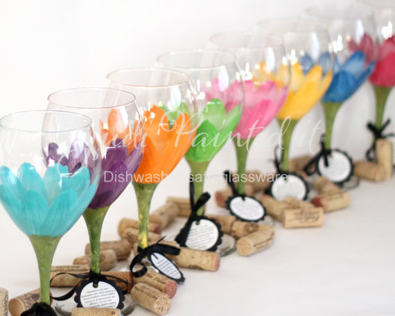 daisy wine glasses