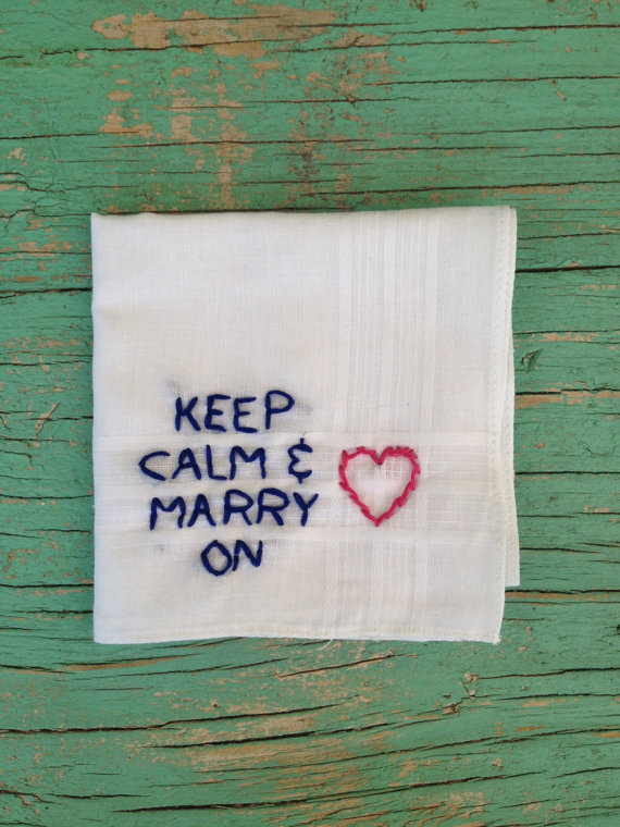 handmade wedding - keep calm and marry on handkerchief