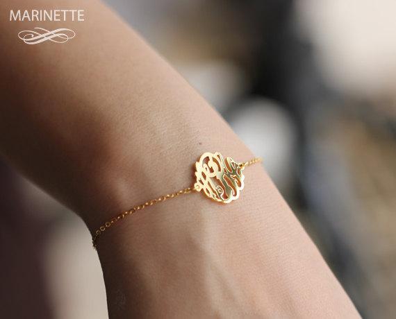 handmade wedding bracelet with monogram