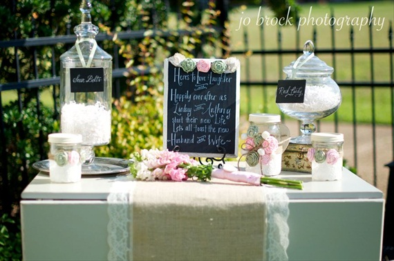 shabby chic wedding candy buffet display