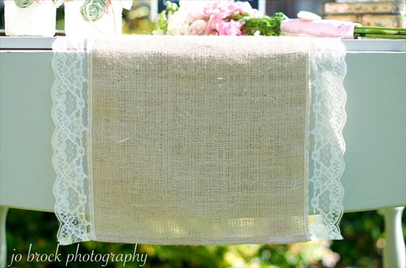 shabby chic wedding burlap table runner