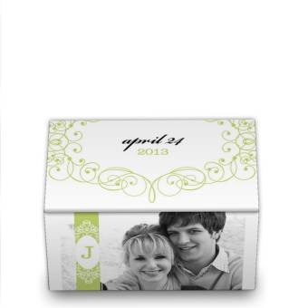 wedding favor boxes - green and white