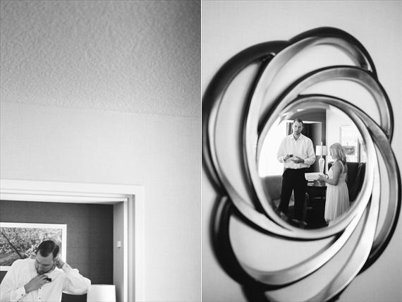 groom getting ready in mirror