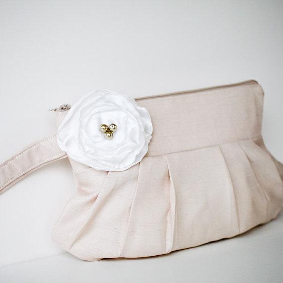 gathered clutch purse in champagne