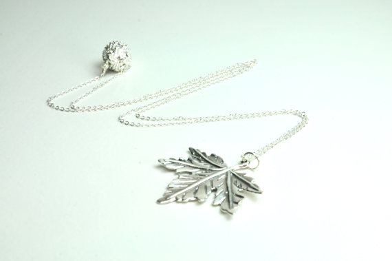 maple leaf handmade bridesmaid necklace