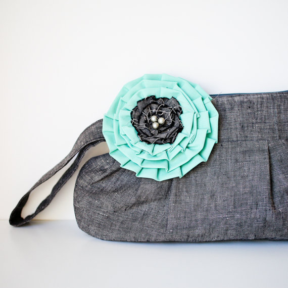 gathered clutch purse in gray with teal flower