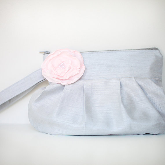 gathered clutch purse in pink