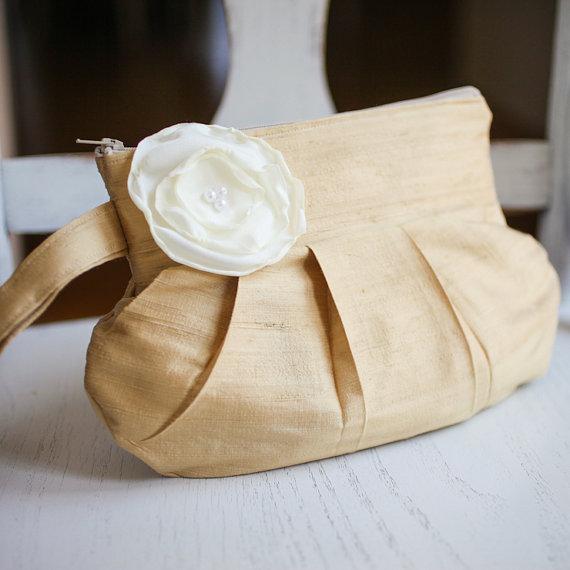 gathered clutch purse in gold