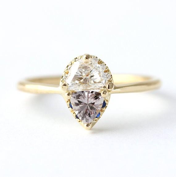 half moon diamond ring