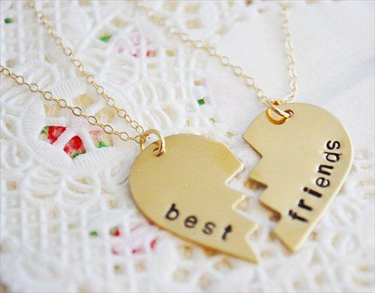best friends handstamped necklaces